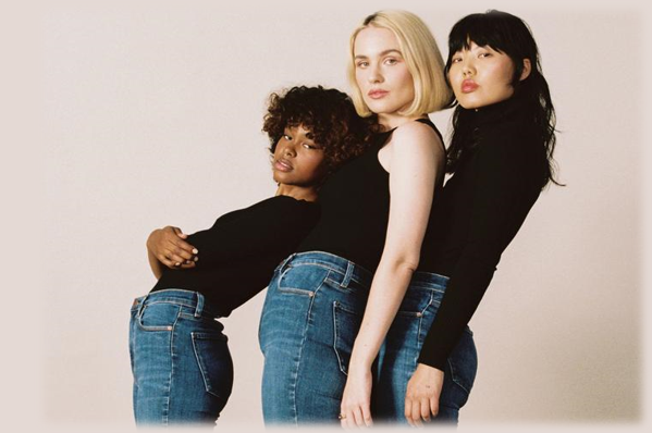 Women wearing sustainable and ethical denim jeans.